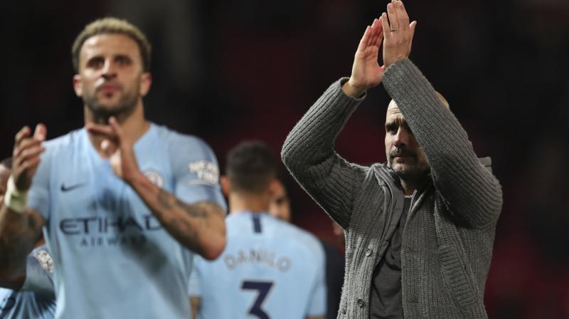 Guardiola's side follow the crucial Premier League fixture at Turf Moor with games against Leicester and Brighton, as City seek to hold off Liverpool in a thrilling title race. (Photo: AP)
