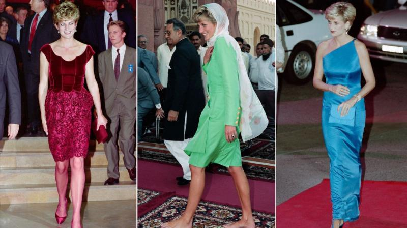 This combination of file photos shows, (LtoR), Britain's Diana, Princess of Wales on November 15, 1992 / on September 27, 1991 and on October 31, 1996. (Photo: AFP)