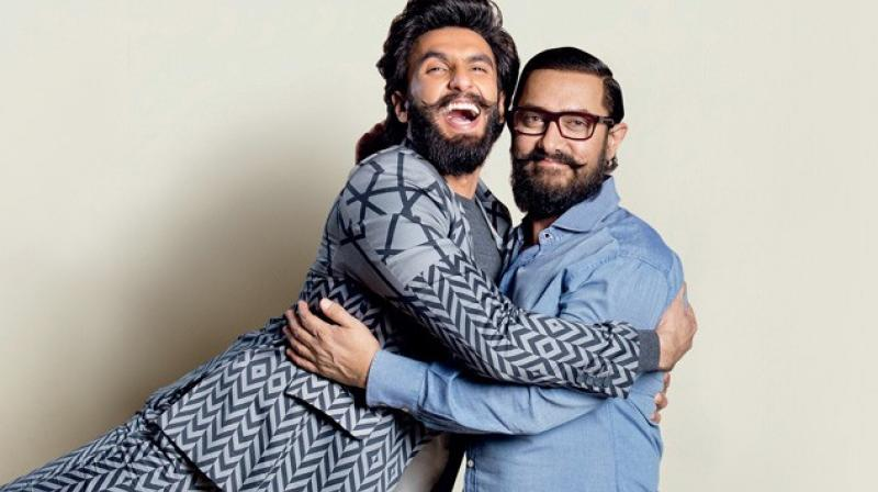 Ranveer Singh and Aamir Khan in a photoshoot.