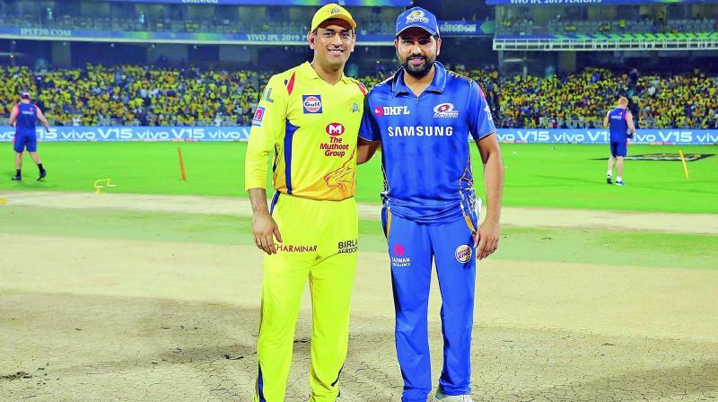 CSK skipper M.S. Dhoni and his Mumbai counterpart Rohit Sharma. (Photo: BCCI)