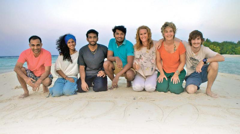 Aine and team at Maldives.