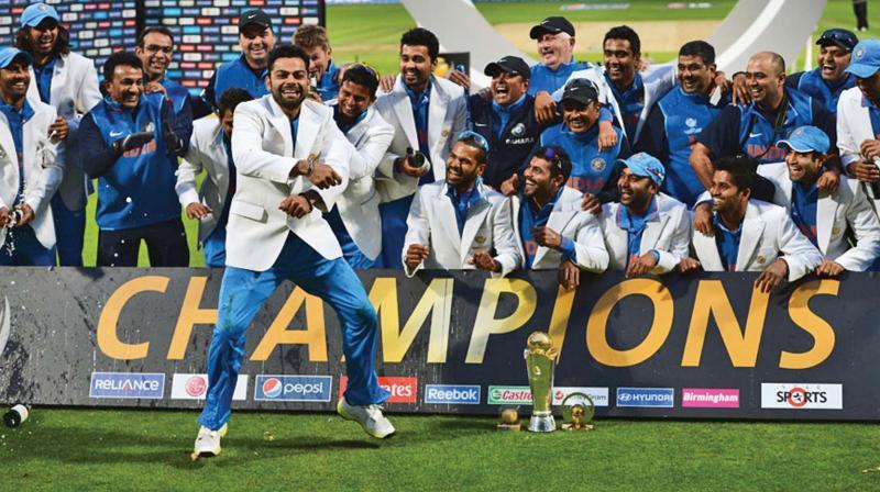 Kohli doing Gangnam Style after winning 2013 Champions Trophy.