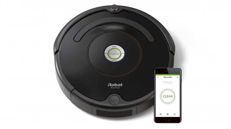 Roomba 671 is a disk-shaped vacuum cleaning robot with 9.2 cms of height.
