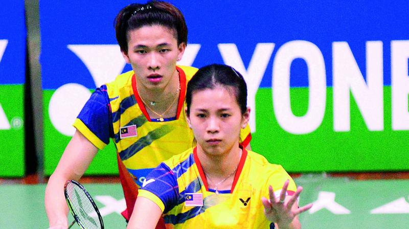 Tang Jie Chen & Liu Ying Goh from Malaysia in action on way to the mixed doubles final on Saturday.