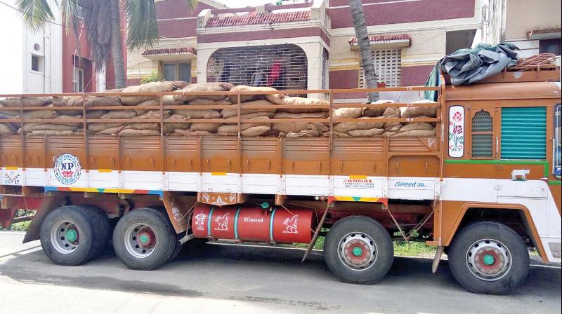 The rubber load lorry in which the accused were transporting dry ganja. (Photo: DC)