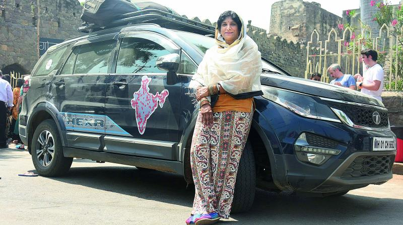 Driving force: Sangeetha Sridhar in front of Golconda Fort.