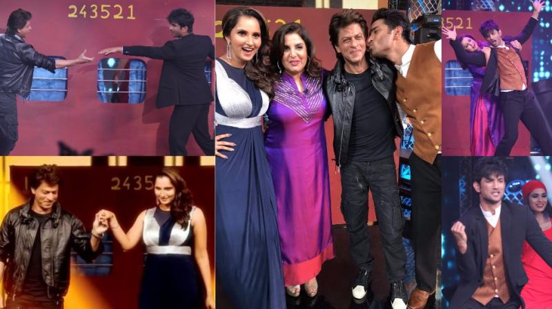 Sushant Singh Rajput and Sania Mirza shot for an episode for Farah Khan's reality show 'Lip Sing Battle', with Shah Rukh Khan being the surprise guest. (Photo: Viral Bhayani/ Twitter)