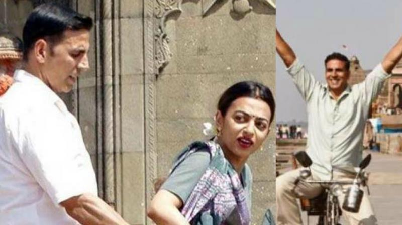 Radhika Apte and Akshay Kumar snapped on the sets of 'Padman.'