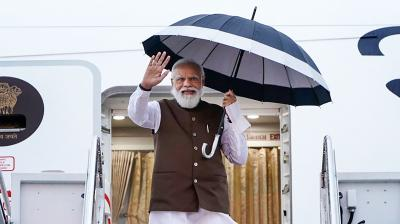 Prime Minister Narendra Modi being received by the dignitaries, on his arrival, in Washington DC, Thursday, September 23, 2021. (PTI Photo)