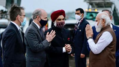 Prime Minister Narendra Modi being received by the Taranjit Singh Sandhu, Ambassador of India to USA and T. H. Brian McKeon, U.S. Deputy Secretary of State for Management and Resources, on his arrival, in Washington DC, Thursday, September 23, 2021. (PTI)