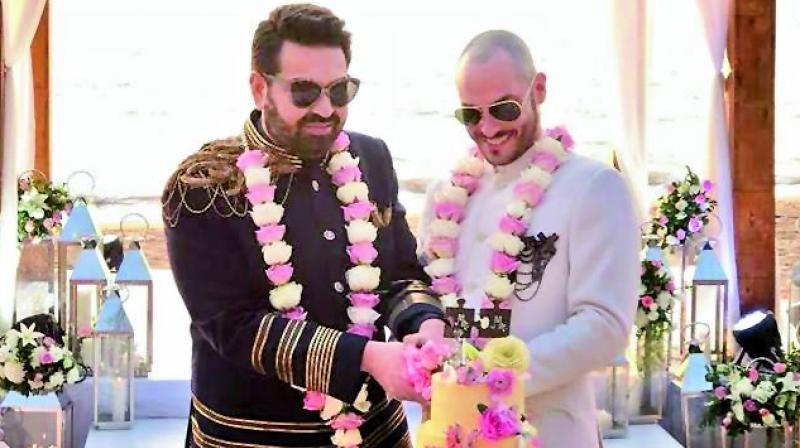 Keshav Suri and his husband Cyril during their wedding in Goa.