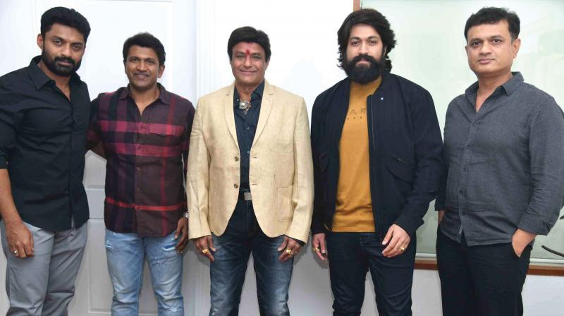 Nandamuri Balakrishna along with Puneeth Rajkumar, Yash, KGF producer Vijay Kiragandur
