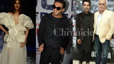 Bollywood actor Ranveer Singh was spotted at the event, his 'Befikre' co-star Vaani Kapoor was snapped at the fashion show, Actor-director duo Rajkummar Raoi and Hansal Mehta launch 'Omerta' trailer. Check out all exclusive photos of Bollywood stars. (Photos: Viral Bhayani)