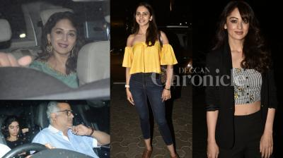 Madhuri Dixit-Nene, Boney Kapoor with daughter Khushi, Sushmita Sen attended special screening of Rani Muerji's 'Hichki'; Bollywood beauties Sandeepa Dhar, Rakul Preet and others were seen at Ajay Devgn's Raid screening. (Photos: Viral Bhayani)