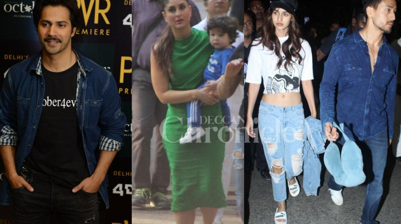 Kareena Kapoor Khan was seen with Taimur Ali Khan on the set, Tiger Shroff and Disha Patani were spotted at Mumbai airport, Varun Dhawan was present at the song launch of his upcoming film. See all exclusive pictures of your favourite stars here. (Photos: Viral Bhayani)