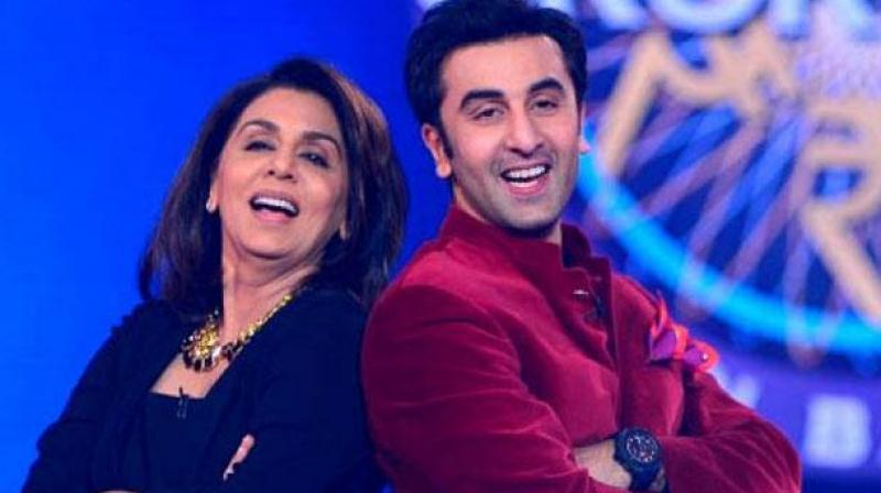 Neetu Kapoor with son Ranbir.