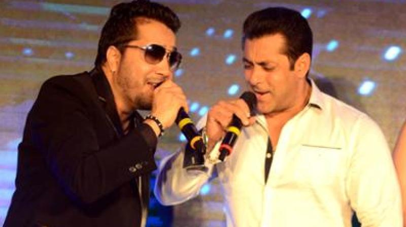 Mika Singh with Salman Khan.