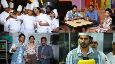Varun Dhawan and Banita Sandhu who will be seen playing hotel management students in Shoojit Sircar's 'October' , took over Holiday Inn in Mumbai for a very special October Feast. See all photos here. (Photos: Viral Bhayani)