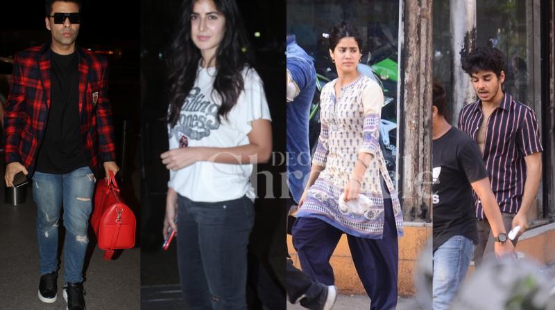 Bollywood filmmaker Karan Johar and actress Katrina Kaif were seen at the Mumbai airport and budding actors Ishaan Khatter and Janhvi Kapoor were spotted during 'Dhadak' shoot in the city. (Photos: Viral Bhayani)