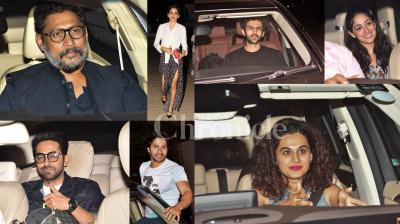 Varun Dhawan and Banita Sandhu starrer 'October' held special screening last night in Mumbai. B-town celebs Ayushmann Khurrana, Yami Gautam, Kartik Aaryan, Nushrat Bharucha, Huma Qureshi and others were present at the screening. See the exclusive pictures here. (Photos: Viral Bhayani)