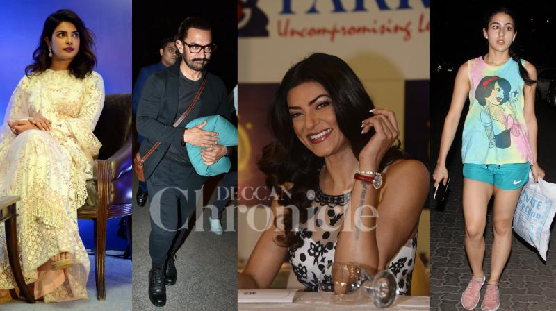 Global star Priyanka Chopra, Sushmita Sen attended the event. Bollywood superstar Aamir Khan spotted at the Mumbai airport. Budding actress Sara Ali Khan was seen hanging out in the city. See exclusive pictures of Bollywood celebrities. (Photos: Viral Bhayani)