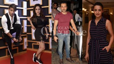 Bollywood actors Karan Singh Grover, Emraan Hashmi, Nushrat Bharucha, Huma Qureshi, Surveen Chawla, Vikrant Massey and others were spotted at different events last night. See all exclusive pictures of Bollywood celebs right here. (Photos: Viral Bhayani)