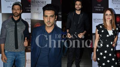 Hirthik Roshan was present at ex-wife Sussanne Khan's design concept store, The Charcoal Project. Khan's family and friends were also present at the event. See all photos from the last night. (Pictures: Viral Bhayani)