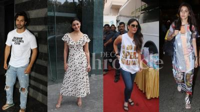 Bollywood celebs Varun Dhawan, Kareena Kapoor Khan, Alia Bhatt, Anushka Sharma were spotted in the city. See all exclusive pictures of your favourite stars here. (Pictures: Viral Bhayani)