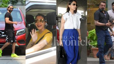 Bollywood celebrities Anushka Sharma, Sanjay Dutt, Shahid Kapoor, Sonam Kapoor, Aditya Roy Kapur and others were spotted in the city. See exclusive pictures of your favourite star here. (Photos: Viral Bhayani)
