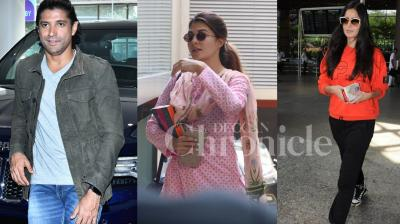 Bollywood stars Farhan Akhtar, Katrina Kaif, Jacqueline Fernandez and other B-town celebs were spotted in the city. See all photos here. (Pictures: Viral Bhayani)