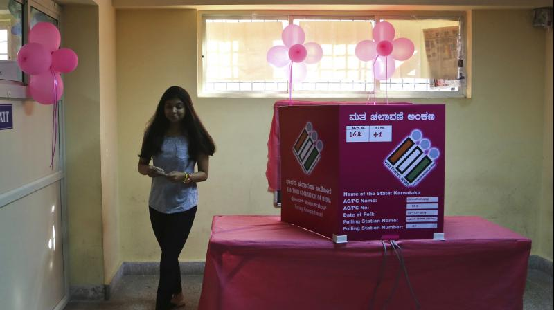 Karnataka Polls: Pink polling booths installed to boost women voters
