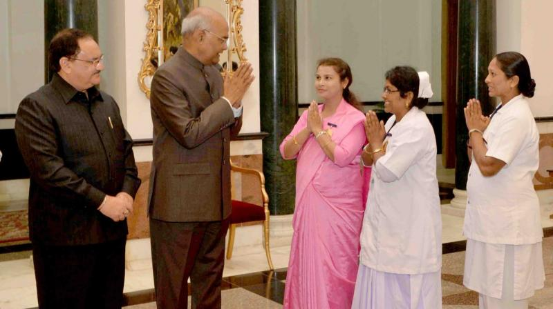 President Ram Nath Kovind also expressed his gratitude towards the entire nursing community for playing a vital role in keeping our country healthy. (Photo: @rashtrapatibhvn/Twitter)