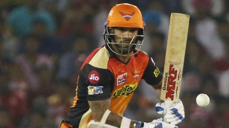 Shikhar Dhawan celebrated his inclusion in India's Champions Trophy squad with a match-winning fifty for Sunrisers Hyderabad against Mumbai Indians at the Rajiv Gandhi International Stadium in Uppal. (Photo: PTI)