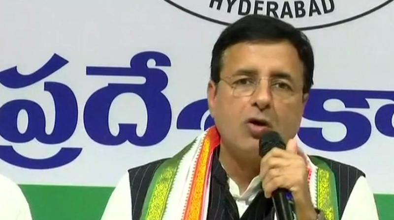 "Surjewala accused the Modi government of indulging in a ""cover-up conspiracy"" to hide its role in helping and promoting the ""banned company"" AgustaWestland and its parent company, Finmeccanica. (Photo: ANI/Twitter)"