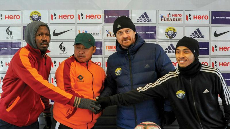 Real Kashmir coach David Robertson (2nd right) in Srinagar before Gokulam Kerala match(Photo: AP)