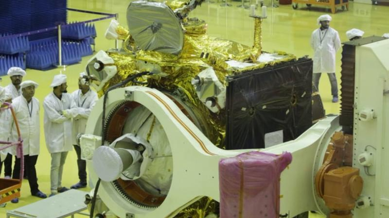 He said, 'The Chandrayaan 2 Mission contains three components and the composite body of Chandrayaan 2 is kept inside GSLV MK-III.'(Photo: ANI   Twitter)