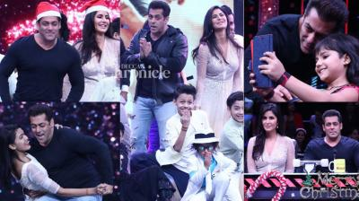 With only a few days to go for the release of 'Tiger Zinda Hai', Salman Khan and Katrina Kaif shot for a reality show episode in Mumbai on Sunday. (Photo: Viral Bhayani)