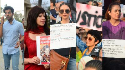 Bollywood celebrities Rajkummar Rao-Patralekhaa, Kalki Koechlin, Kiran Rao, Aditi Rao Hydari, Amyra Datur, Twinkle Khanna and others strongly condemned the heinous Kathua gangrape at the protest in Bandra, Mumbai. (Photos: Viral Bhayani)