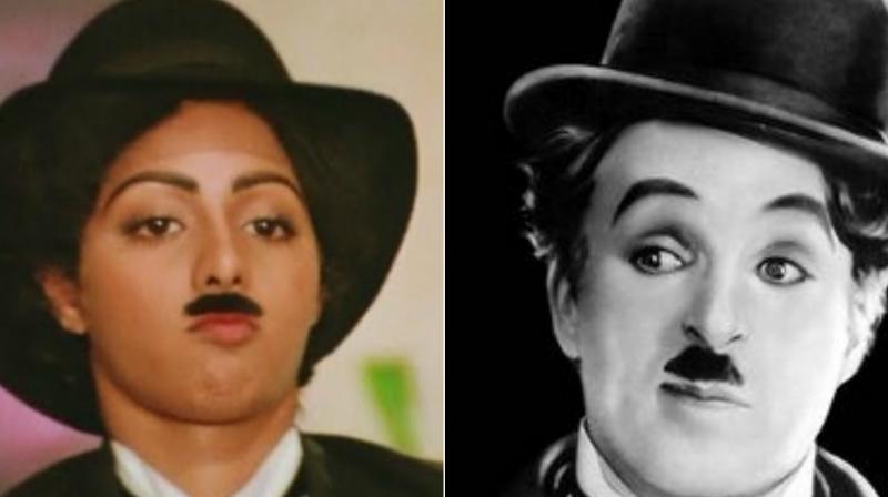 Sridevi and Charlie Chaplin.