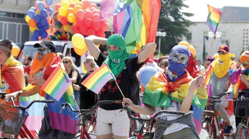A file photograph of a parade by the LGBT community