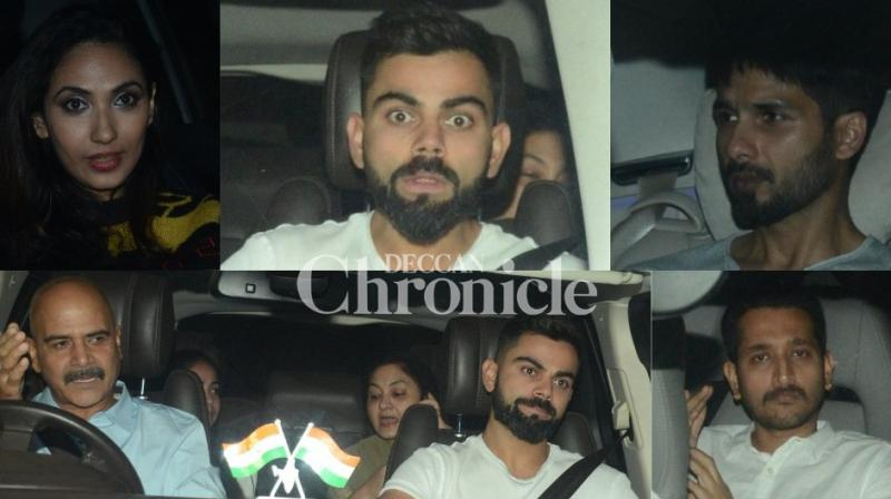 Virat Kohli watched wife Anushka Sharma's 'Pari' at a special screening held in Mumbai on Thursday. (Photo: Viral Bhayani)