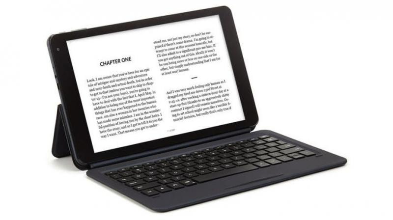 The cover can be physically connected to the tablet and allows for data or power transmit.