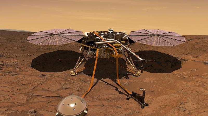 The stationary probe, launched from California in May, will then pause for 16 minutes for the dust to settle, literally, around the landing site before its disc-shaped solar arrays unfurl to provide power. (Photo: NASA)