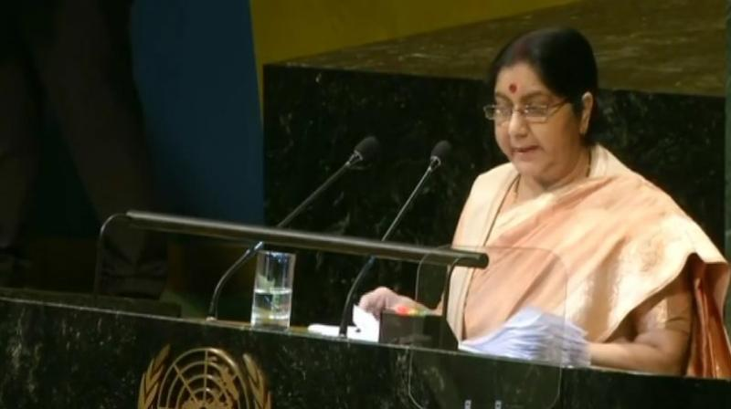Swaraj warned against a delay in reforming the world body, saying reform must begin today as tomorrow could be too late. (Photo: ANI/Twitter)