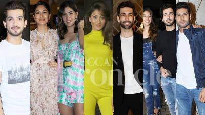 On Thursday night, Super 30 makers organised special screening of Bollywood and TV celebs. Stars like Aditya Seal, Urvashi Rautela, Arjun Bijlani, Karishma Sharma, Palak Mucchal, Ajay Gogawale and others watched Hrithik Roshan, Mrunal Thakur and Nandish Singh's film together. (Photos: Viral Bhayani)