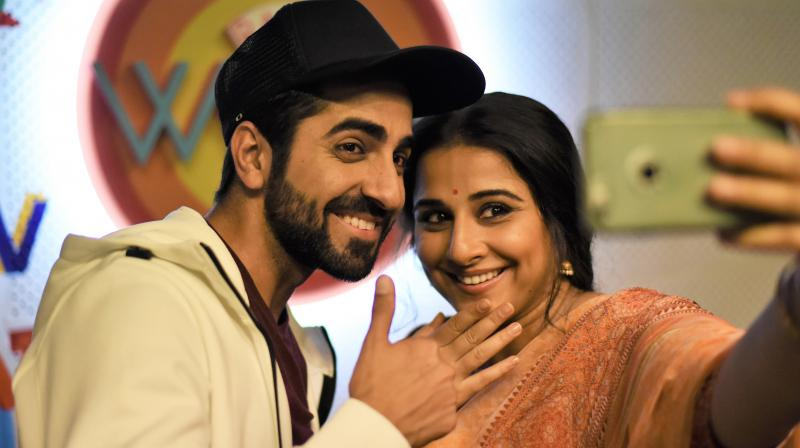 Ayushmann Khurrana and Vidya Balan on the sets of 'Tumhari Sulu.'