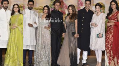 Sonam Kapoor and Anand Ahuja's wedding reception was a grand affair with a bevy of Bollywood stars in attendance in Mumbai on Tuesday. (Photos: Viral  Bhayani)