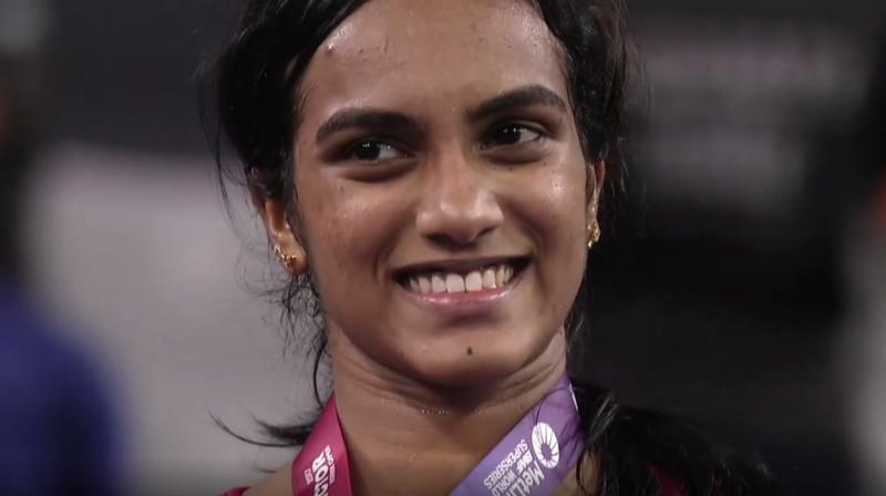 PV Sindhu battled it out in an 84-minute match, to defeat Nozomi Okuhara. (Photo: Screengrab)