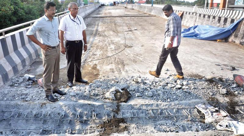 According to sources, though the work on expansion joints started on Friday, it would take at least a week to finish the same. (Photo: Sunoj Ninan Mathew)