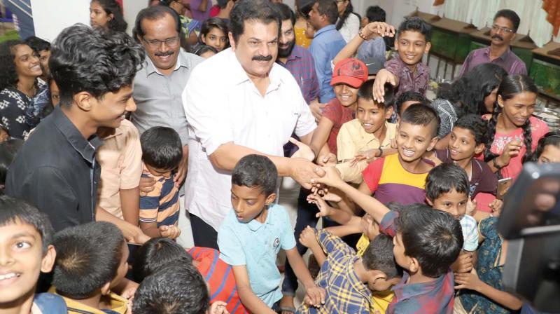 MLA and actor Mukesh interacts with the children of the annual summer camp being organised by Kerala State Council for Child Welfare (KSCCW) in Thiruvananthapuram on Tuesday. He was at the council to attend the press conference held in connection with the International Children Film Festival of Kerala (Photo: A.V.MUZAFAR)
